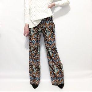 WAYF Silky Tribal-Print Wide Leg Flare Pants